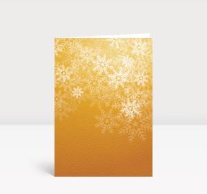Weihnachtskarte Flockengestöber orange