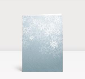 Weihnachtskarte Flockengestöber grau