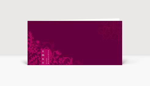 Weihnachtskarte XMAS Frohe Weihnachten auf lilafarbener Karte mit Ornamenten