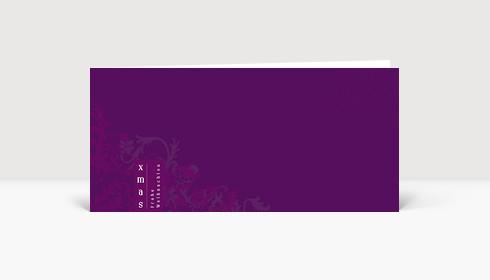 Weihnachtskarte XMAS Frohe Weihnachten auf dunkel lilafarbener Karte mit Ornamenten