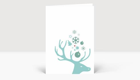 Weihnachtskarte Hirsch eisblau