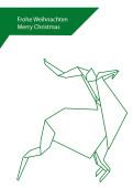 Weihnachtskarte Hirsch Origami grün