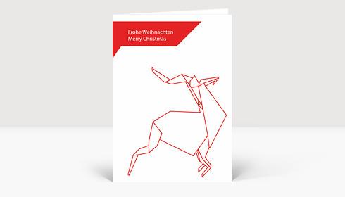 Weihnachtskarten Origami.Weihnachtskarte Hirsch Origami Rot