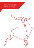 Weihnachtskarte Hirsch Origami rot