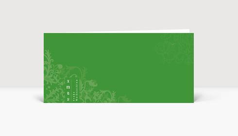 Weihnachtskarte XMAS Frohe Weihnachten auf grüner Karte mit Ornamenten