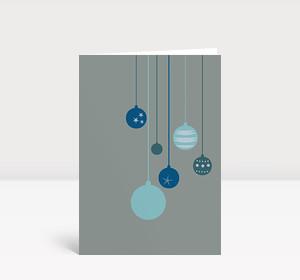 Weihnachtskarte Sechs blaue Weihnachtskugeln
