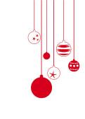 Weihnachtskarte Sechs rote Weihnachtskugeln