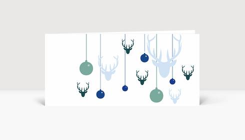 Weihnachtskarte Hirsche und Weihnachtskugeln blau grün