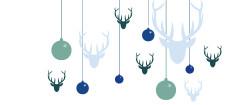 Weihnachtskarte Hirsche & Kugeln blau grün