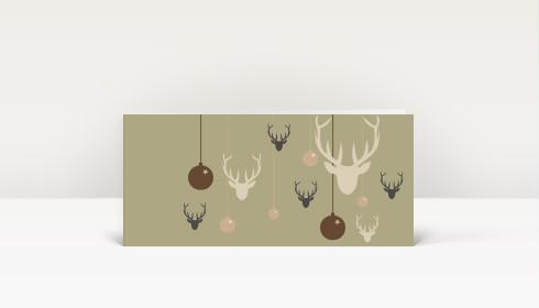 Weihnachtskarte hirsche und weihnachtskugeln braun dk476 - Designer weihnachtskarten ...