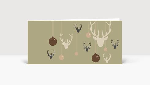 Weihnachtskarte Hirsche und Weihnachtskugeln braun