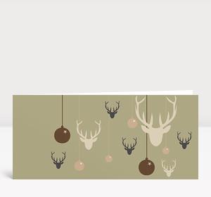 Weihnachtskarte Hirsche & Kugeln braun