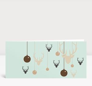 Weihnachtskarte Hirsche & Kugeln grün braun