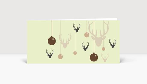 Weihnachtskarte Hirsche und Weihnachtskugeln hellgrün