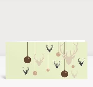 Weihnachtskarte Hirsche & Kugeln hellgrün