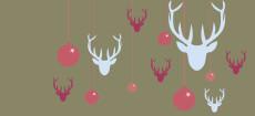 Weihnachtskarte Hirsche & Kugeln rot blau
