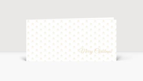 Weihnachtskarte Edles goldenes weihnachtliches Muster auf weißer Karte im Querformat DIN LANG