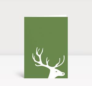 Weihnachtskarte Kleiner Hirschkopf auf grün