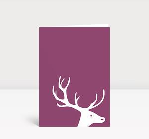 Weihnachtskarte Kleiner Hirschkopf auf altrosa