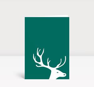 Weihnachtskarte Kleiner Hirschkopf auf blaugrün
