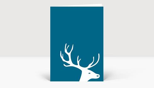 Weihnachtskarte Kleiner Hirschkopf auf dunkelblau
