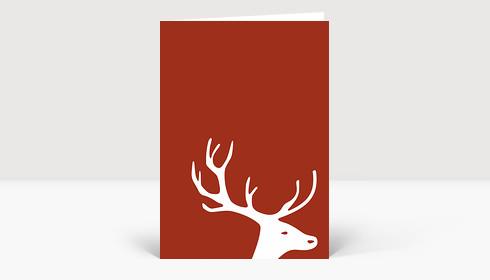 Weihnachtskarte Kleiner Hirschkopf auf leuchtendem braun