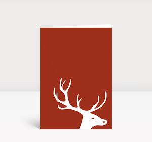 Weihnachtskarte Kleiner Hirschkopf auf braun