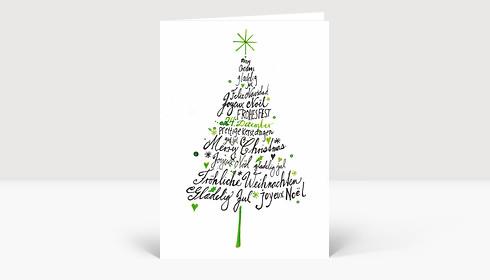 Weihnachtskarte Internationale Weihnachtsgrüße gezeichnet Weihnachtsbaum