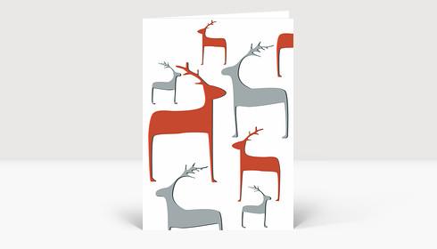 Weihnachtskarte Wintertiere graubraun