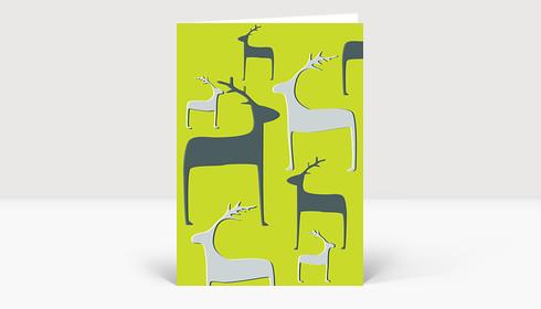 Weihnachtskarte Wintertiere grau auf grün