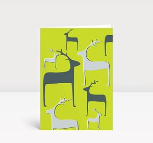 Weihnachtskarte Wintertiere graugrün
