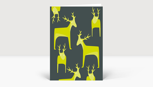 Weihnachtskarte Putzige Wintertiere grün auf grau