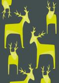 Weihnachtskarte Putzige Wintertiere grüngrau