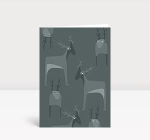 Weihnachtskarte Putzige Wintertiere grau