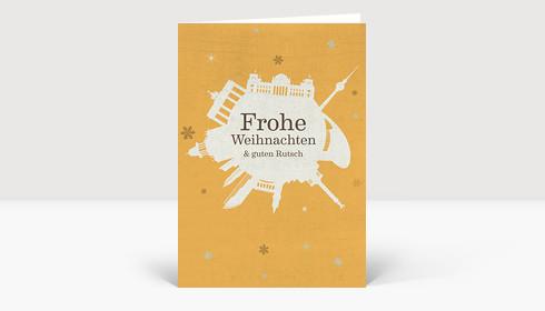 Weihnachtskarte Berlin Schneeball auf gelb