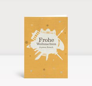 Weihnachtskarte Berlin Schneeball gelb
