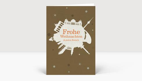 Weihnachtskarte Berlin Schneeball auf braun