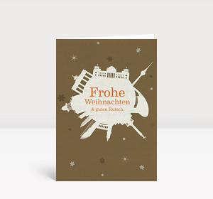 Weihnachtskarte Berlin Schneeball braun