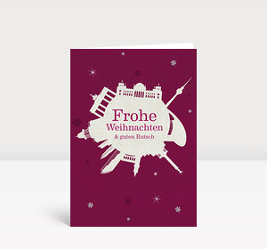 Weihnachtskarte Berlin Schneeball violett