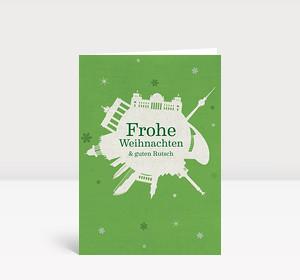Weihnachtskarte Berlin Schneeball grün