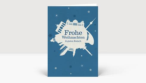 Weihnachtskarte Berlin Schneeball auf blau