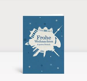 Weihnachtskarte Berlin Schneeball blau