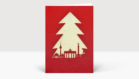 Weihnachtskarte Berlin Tanne auf rot