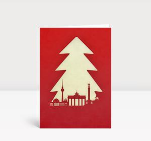 Weihnachtskarte Berlin Tanne rot
