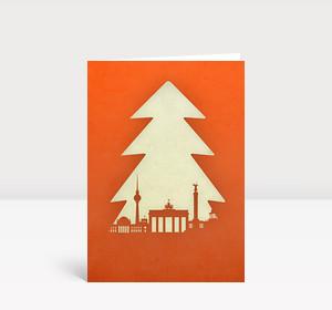 Weihnachtskarte Berlin Tanne orange