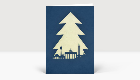 Weihnachtskarte Berlin Tanne auf blau
