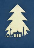 Weihnachtskarte Berlin Tanne blau