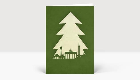 Weihnachtskarte Berlin Tanne auf grün