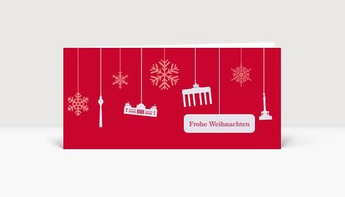 Weihnachtskarte Berlin Flakes auf rot