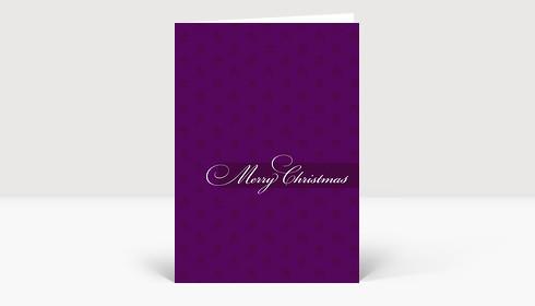 Weihnachtskarte Elegantes Merry Christmas auf violetter Karte